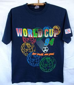 f8dab27af Vintage1994 World Cup 94 USA Soccer T Shirt Mens Large navy made in USA  #renchultra