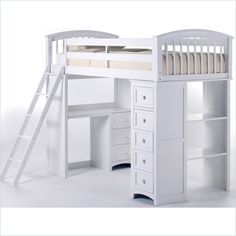 NE Kids School House Junior Loft Bed with Stairs in White Modern Furniture
