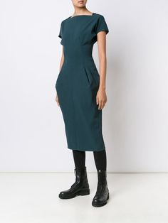 ¡Cómpralo ya!. Rick Owens 'Dagger Calpurnia' Dress. Teal stretch cotton blend 'Dagger Calpurnia' dress from Rick Owens featuring a slash neck, short sleeves, a rear zip fastening, a fitted waist and a rear central vent. , vestidoinformal, casual, informales, informal, day, kleidcasual, vestidoinformal, robeinformelle, vestitoinformale, día. Vestido informal  de mujer color azul claro de RICK OWENS.