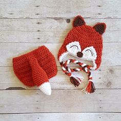 Crochet Baby Fox Hat Beanie Diaper Cover Bow Newborn Infant Photography Photo Prop Animal Set Costume Handmade Baby Shower Gift Unisex