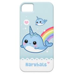 Cute, kawaii narwhal with a rainbow iPhone and Samsung phone case!