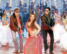 Costumes from Bollywood, where do they go once production wraps up? (L- R) Amitabh Bachchan, Aishwarya Rai and Abhishek Bachchan in the Kajra Re song from Bunty aur Babli (2005)
