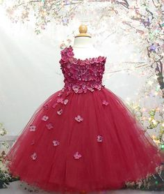 Burgundy/Berry One Shoulder Flower Girl Dress Flower Girl Bridesmaid Dresses, Prom Dresses, Formal Dresses, Wedding Dresses, Tutu Costumes, Knee Length Dresses, Satin Dresses, Dress For You, Fancy Dress