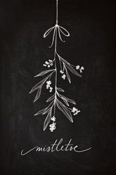 Mistletoe Christmas chalkboard art display decoration