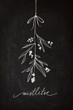 Mistletoe Christmas chalkboard art display decoration