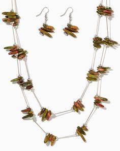 charming charlie | Ukalite Stone Station Necklace Set | UPC: 450900435486 #charmingcharlie