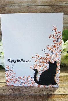 Stampin Up Simple Halloween Cat Card and Video from The Stampin B - Spooky Cat, Timeless Textures, Cat Punch Halloween Paper Crafts, Easy Halloween, Handmade Halloween Cards, Handmade Crafts, Handmade Rugs, Halloween 2019, Halloween Makeup, Cat Cards, Kids Cards