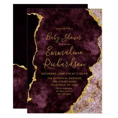 Burgundy & Gold Foil Agate Baby Shower Invitation Custom invitations - Make your special day with these personalized change the colors font and images and make them your own. Country Wedding Invitations, Wedding Invitation Cards, Wedding Cards, Event Invitations, Invitation Wording, Baby Shower Invitations For Boys, Bridal Shower Invitations, Burgundy And Gold, Pink And Gold