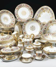 """A Sevres Porcelain part """"Service des Chasses"""", partially decorated outside of the Manufactory, delivered for the Chateau de Fontainbleau, century Dinnerware Sets, China Dinnerware, Antique China, Vintage China, Service Assiette, Manufacture De Sevres, Tea Sets Vintage, China Patterns, Decoration Table"""