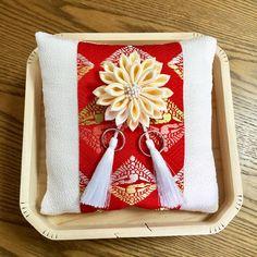 【正絹】向い鶴と菊の和リングピロー