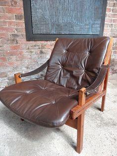 Sam Larsson Brown Leather sling Armchair #larddon #upholsteered #leather #brown #sling #armchair #wood #tbt #furniturefindingservice #vintage #retro #euvintage