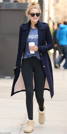 In a good mood again: Gigi Hadid was seen smiling while holding a coffee as she stepped ou...