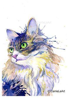 Il s'agit d'une copie de mon aquarelle originale, peinture «Chat des forêts norvégiennes». A3 (environ 12 x 16 pouces, 30 x 42cm), A4 (environ 8 x 11 pouces) et A5 (environ 5 x 8 pouces) de taille disponible. Conçu et imprimé en Angleterre sur cartes ou papiers d'art 220gsm blanc de Watercolor Cat, Watercolor Animals, Watercolor Paintings, Art Carte, Norwegian Forest Cat, Cat Posters, Cat Gifts, Animal Paintings, Cat Art