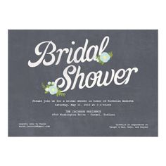 Chalkboard Florals Bridal Shower Invitation