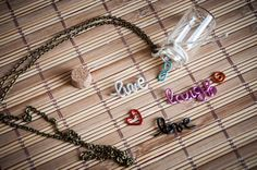 Long necklace with bottle and phrase live laugh by SilviaWithLove, €16.00