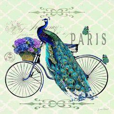 Peacock On Bicyle-jp2559 Digital Art