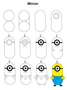 Minion step-by-step tutorial. - Poke Ball Minion step-by-step tutorial. Easy Disney Drawings, Easy Cartoon Drawings, Easy Drawings For Kids, Pencil Art Drawings, Doodle Drawings, Drawing For Kids, Cute Drawings, Easy To Draw Cartoons, Drawing Ideas