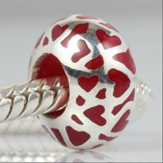 Red Enamel Love Heart Authentic 925 Sterling Silver Core Beads