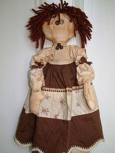 Primitive doll brown dress