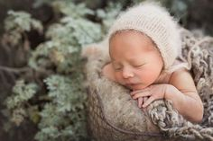 Fluffy angora newborn bonnet knit newborn photo prop