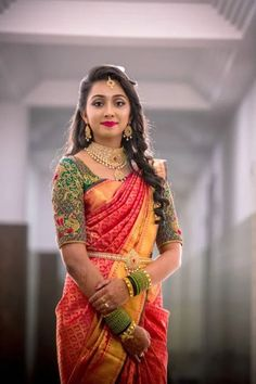 Hairstyle on Saree for Engagement Wedding Saree Blouse Designs, Pattu Saree Blouse Designs, Half Saree Designs, Fancy Blouse Designs, Golden Blouse Designs, Wedding Blouses, Bridal Sarees South Indian, Indian Bridal Outfits, Indian Bridal Fashion