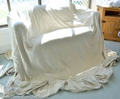 """How to reupholster a couch """"no sew"""" 