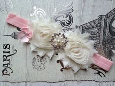 Ivory Flower Girl Headband Ivory Pink Flower by TheRaggedDiamond, $8.00