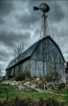 Weathered barn and weather vane