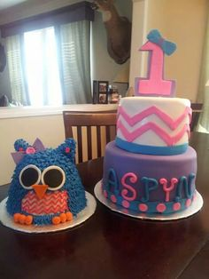 Owl chevron birthday cake
