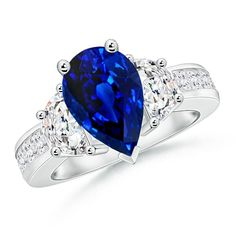 Love this Jewelry Style from Angara! V-pronged Pear Sapphire and Half Moon Diamond Three Stone Ring