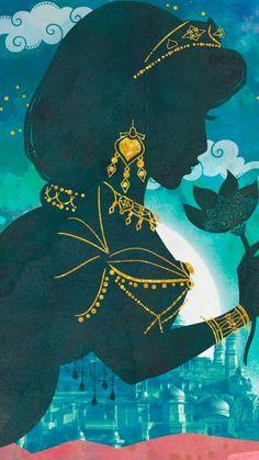 Princess Jasmine silhouette from Disney& live action movie, Aladdin Aladdin Wallpaper, Disney Wallpaper, Disney Jasmine, Aladdin And Jasmine, Heroes Disney, Disney Characters, Disney Princesses, Disney Animation, Cute Disney