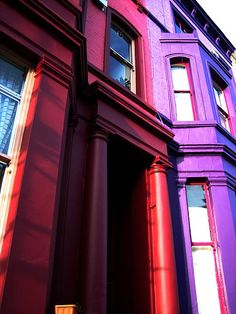 Houses in Notting Hill. Purple and Red
