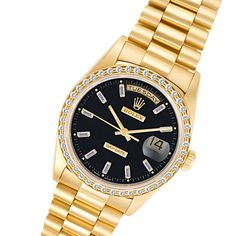 Rolex Day-Date 18k Yellow Gold with Diamond Bezel Watch #rolex