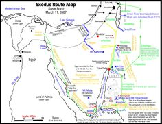 Detailed line drawing map with notes of the Exodus 1440 BC