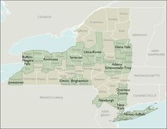 Map of New York Counties// From around Glens Falls, went to school near Newburgh, and now live in Rochester. :-)