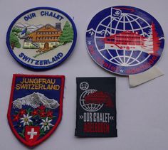 WAGGGS - 3 MINT OUR CHALET SWITZERLAND BADGES/PATCHES + 1 ~ WORLD CENTRE