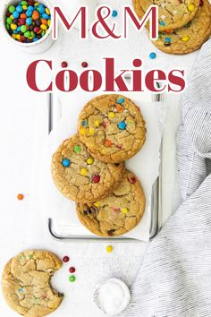M&M Cookies - Thick and chewy cookies loaded with M&Ms. The perfect cookie recipe for M&M fans! Cookie Recipe | M&M Desserts | M&M Cookie Recipe #cookies