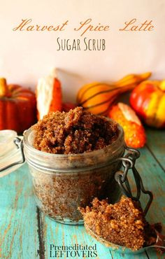 arvest Spice Latte Sugar Scrub Recipe- Try this DIY sugar scrub to soften and exfoliate dry skin this fall. Treat yourself or mix a batch to make gifts for friends and family.