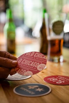 Old Chicago Pizza and Taproom. I have a marvelous set of coasters from the Miami Design Preservation League of art deco Miami Beach... it would be nice to have a series like this for different cities...