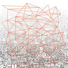 """Illustration of Italo Calvino's 'Ersilia'. """"…you come upon the ruins of the abandoned cities without the walls which do not last, without the bones of the dead which the wind rolls away: spider webs of intricate relationships seeking a form. App Design, Print Design, Graphic Design, City Collage, Invisible Cities, Abandoned Cities, Urban Architecture, City Illustration, Design Thinking"""