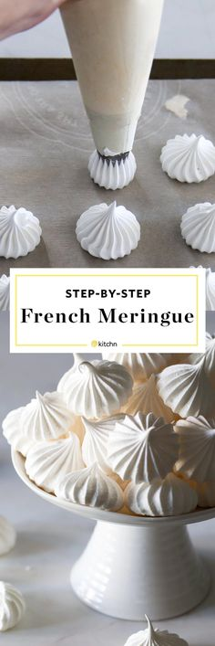cool How to Make a French Meringue Cookies Recipe. So simple, easy, and pure, meringues are the lightest, almost cloud-like cookies and pastries . French Meringue Cookies Recipe, Baked Meringue, French Cookies, Meringue Kisses, Easy Meringue Recipe, Chocolate Meringue Cookies, Meringue Desserts, Meringue Recipe Without Cream Of Tartar, Cake Decorating Techniques