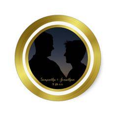 Modern Elegant Gold Foil Photo Wedding Engagement Round Sticker