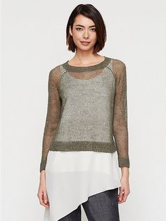NWT EILEEN FISHER S BALLET NECK 3/4-SLEEVE BOX TOP RUSTIC LINEN COTTON Gray $188 #EileenFisher #KnitTop