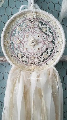 Lavender Butterflies This gorgeous dream catcher is my shabby chic version, but tattered and torn for more romantic vintage charm! Everything has been hand stitched together piece by piece, layer upon layer down to every tiny button, all lovingly stitched with vintage cream