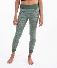 Olive Fleece-Lined Zipper Leggings
