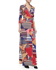 Abigail Diamond Stripe Maxi Wrap Dress at CUSP.