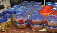 """A Soup Swap is where everyone makes six quarts of soup at home, puts it in 1 quart containers and freezes it. Everyone brings their frozen soup to the party, chats for a while while having drinks and snacks, and hears the """"story of the soup.""""  People then take turns picking different soups to bring home."""