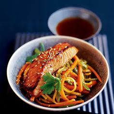 Japanese-style salmon with noodle stir-fry - Woman And Home