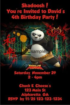 "Kung Fu Panda Invitation   Kung Fu Panda Invitation. Kids love Kung Fu Panda and our birthday party invitation template is great for your next party. Personalize it with your birthday party details. Just type in your party information and click ""Update Preview"" to see an instant proof."