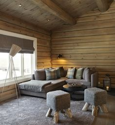Instead of a reading nook, here we have a viewing nook! Would replace that lamp with a spotting scope or telescope for wildlife watching & stargazing. Silver Furniture, Solid Wood Furniture, Minimalist Furniture, Minimalist Interior, Stone Tile Fireplace, Interior Architecture, Interior And Exterior, Wooden Cabins, Cabin Interiors